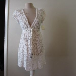 MILLY white crochet cotton swim cover up NEW Small